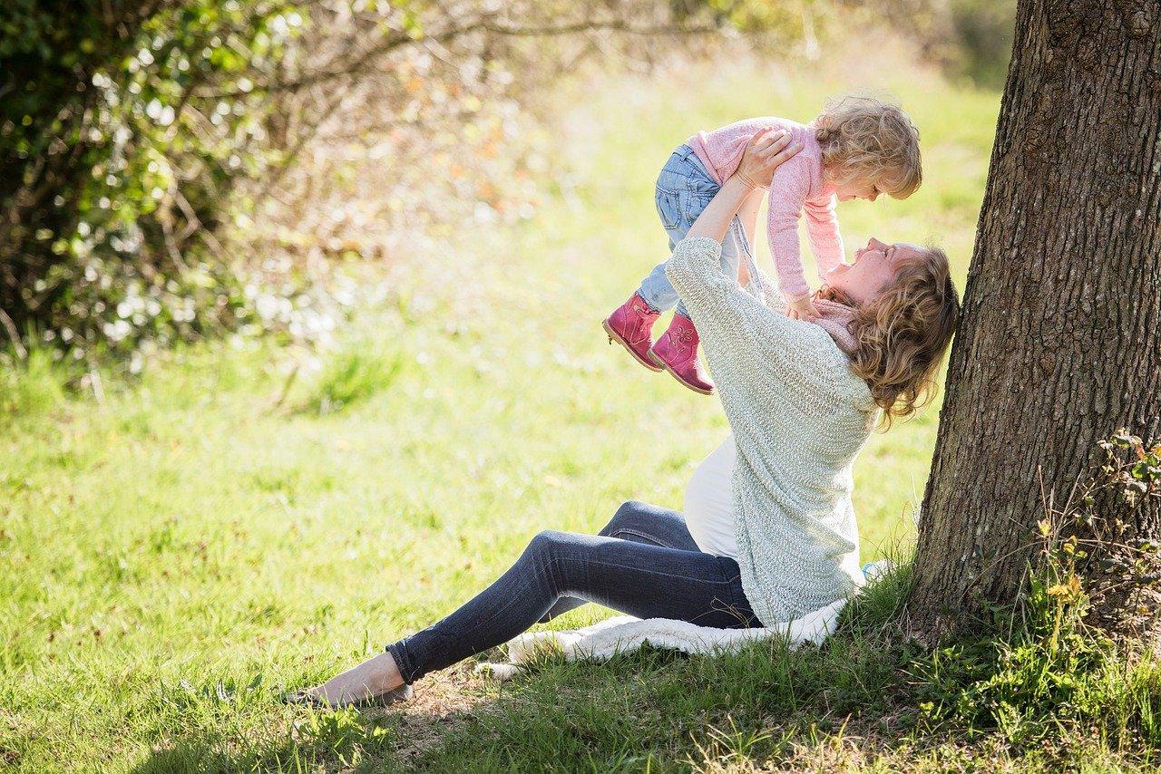 parque, madre, niña